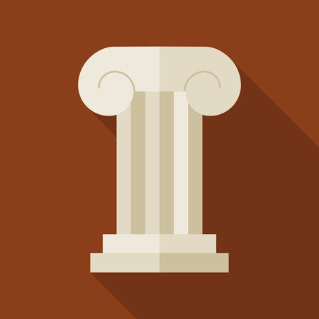 Flat History Ancient Ionic Pillar Illustration with long Shadow. Historical Building Vector Illustration. Column Object. Ilustração