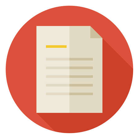 Flat Office Paper Letter Circle Icon with Long Shadow. Business Paper Document List Vector illustration. Note Object. Data Information.