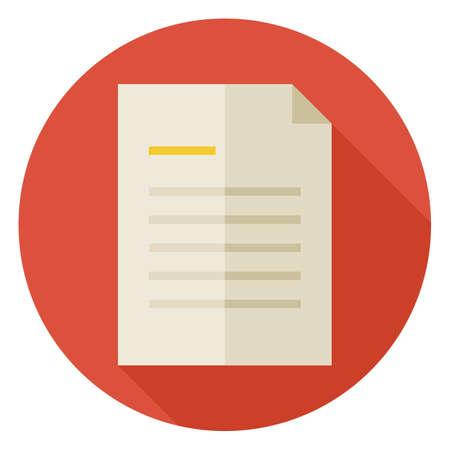 Platte Office Paper Letter Circle icoon met Long Shadow. Zakelijke papieren document Lijst Vector illustratie. Nota. Data informatie.