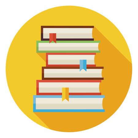 Libros planas con Icono Círculo Marcadores con Long Shadow. Regreso a la Escuela y Educación. Conocimiento Sabiduría y la ilustración vectorial Biblioteca. La lectura del libro con marcador de objetos.