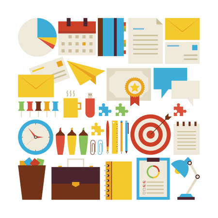 business analysis: Flat Style Vector Collection of Business Workplace and Office Objects Isolated over White. Collection of Business Strategy Colorful Objects. Set of Business Success and Workspace Items. Design Elements Illustration