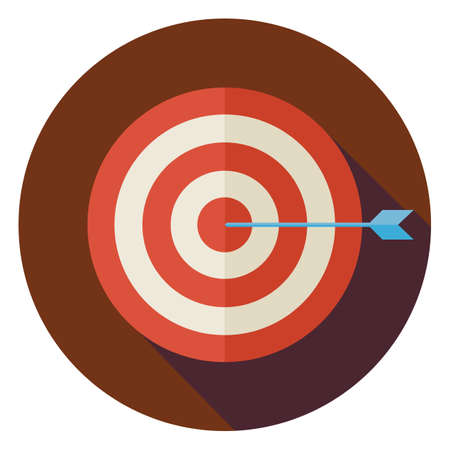 Flat Business Success Target Circle Icon with Long Shadow. Sport Equipment and Competition Vector Illustration. Winning the Competition Object.