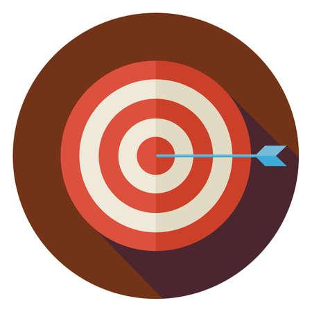 Platte Business Success Target Circle icoon met Long Shadow. Sport apparatuur en concurrentie Vector Illustratie. Het winnen van de competitie Object.
