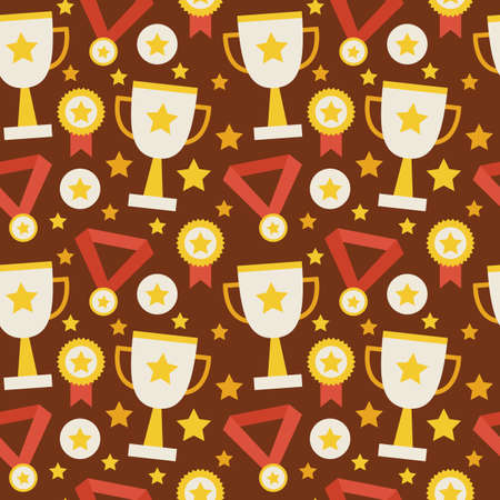 award winning: Flat Vector Seamless Pattern Sport Competition Trophy Winning with Medal. Flat Style Texture Background. Sports and Recreation. First Place. Award with Star. Cup with Gold Star Illustration