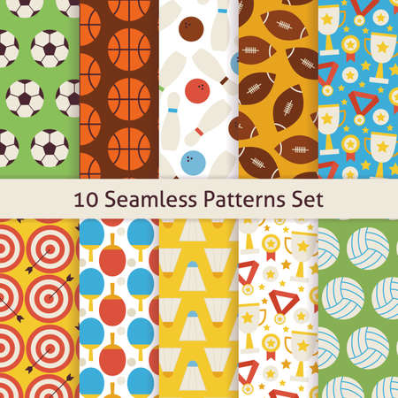 school sport: Ten Vector Flat Seamless Sport Recreation and Competition Patterns Set. Flat Style Vector 10 Seamless Texture Backgrounds. Collection of Sports and Playing Games Templates. Healthy Lifestyle