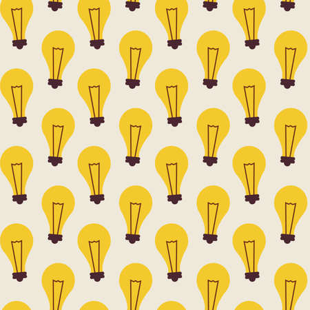 lamp light: Flat Vector Seamless Pattern with Light Bulbs. Business Idea Lamp. Flat Style Seamless Texture Background. Science and Education Template. Back to School. Success and leadership. Office Life. Electricity