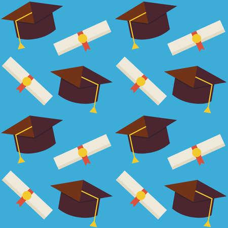 GRADUADO: Vector el modelo inconsútil plana Graduado de la Escuela del Sombrero y diploma. Piso Estilo de fondo textura perfecta. Ciencia y Educación plantilla. De vuelta a la escuela. Graduarse de la universidad. Sombrero graduado con diploma certificado Vectores