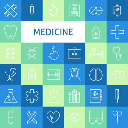 heart design: Vector Flat Line Art Modern Medicine and Healthy Life Icons Set. Medical and Health Care Icons Set over Colorful Tile. Vector Set of 36 Healthy Lifestyle Modern Line Icons for Web and Mobile