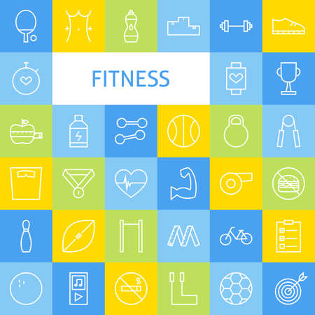 competition: Vector Flat Line Art Modern Fitness Sports and Healthy Lifestyle Icons Set. Fitness Icons Set over Colorful Tile. Vector Set of 36 Sport and Activities Modern Line Icons for Web and Mobile.