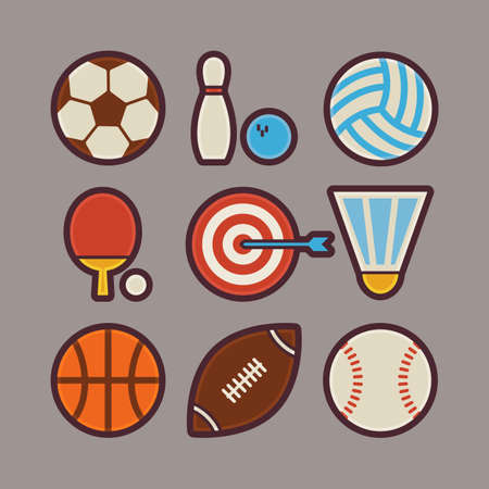 sports application: Vector Sport Items Modern Flat Icons Set. Sports and Activities App Web Elements Collection. Team Games. Colorful Elements for Mobile Game and Web Application Illustration