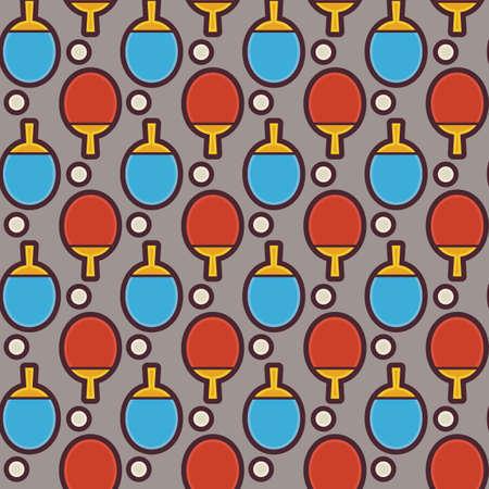 ping pong: Piso incons�til del vector Deporte y Recreaci�n del patr�n de Ping Pong Tenis. Plano Estilo Textura incons�til Fondo. Deportes y Reproducci�n de la plantilla del juego. Estilo de vida saludable. Rocket and Ball