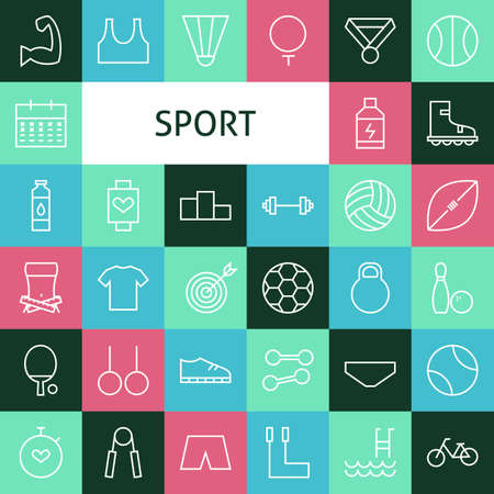 벡터 플랫 라인 아트 현대 스포츠 및 레크리에이션 아이콘을 설정합니다. 다채로운 타일 위에 피트 니스 아이콘을 설정합니다. 36 스포츠 공모전 및 운