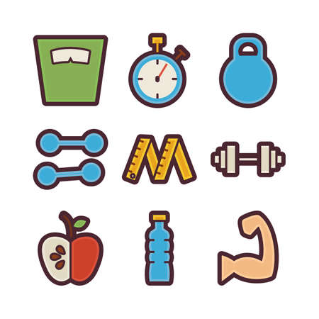 sports application: Vector Fitness and Dieting Items Modern Flat Icons Set. Healthy Lifestyle App Web Elements Collection. Sport Equipment and Sports. Workout and Exercises. Colorful Elements for Mobile Game and Web Application