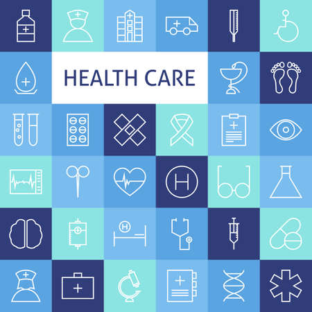 symbole chimique: Vector Flat Line Art Modern Healthcare and Medicine Icons Set. Medical and Health Care Icons Set over Colorful Tile. Vector Set of 36 Healthy Lifestyle Modern Line Icons for Web and Mobile