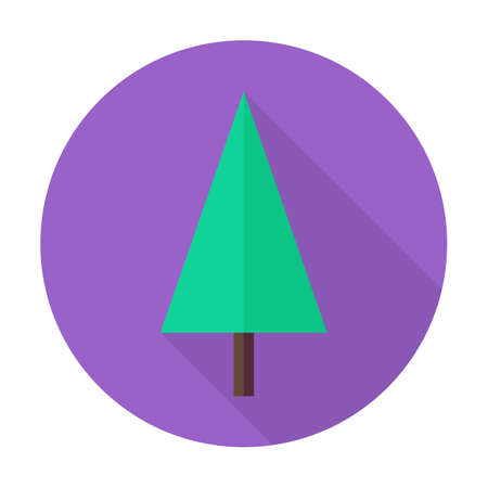 nature  plant: Flat Christmas Tree Circle Icon with Long Shadow. Nature Plant Vector Illustration. Colorful Forest Tree Object.
