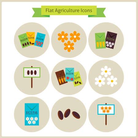 tillage: Agricultura plana y flores Conjunto de iconos. Vectores