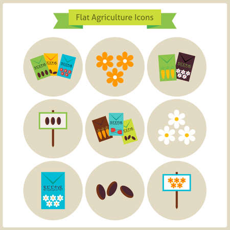 tillage: Flat Agriculture and Flowers Icons Set.