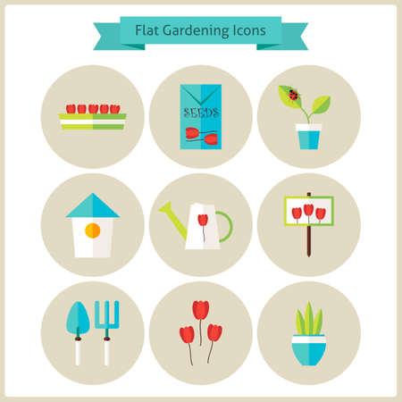 floriculture: Flat Gardening and Flowers Icons Set. Flowers and Vegetables. Agriculture Vector Illustration. Collection of Nature Garden Colorful Circle Icons. Illustration