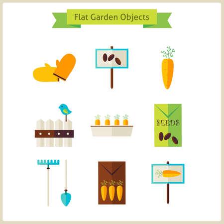 objects: Flat Garden Objects Set.