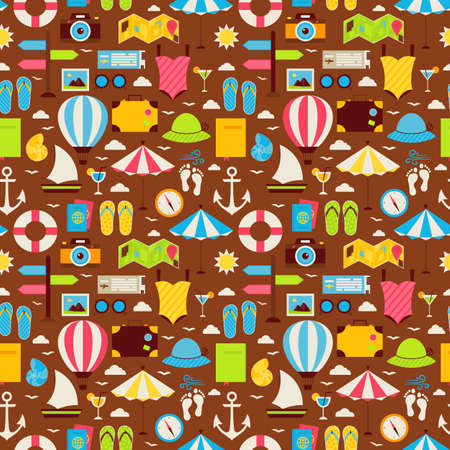 tiling background: Flat Summer Travel Voyage Seamless Pattern. Vacation Holiday Flat Design Vector Illustration. Tiling Background. Collection of Summer Holidays and Beach Resort Colorful Objects.