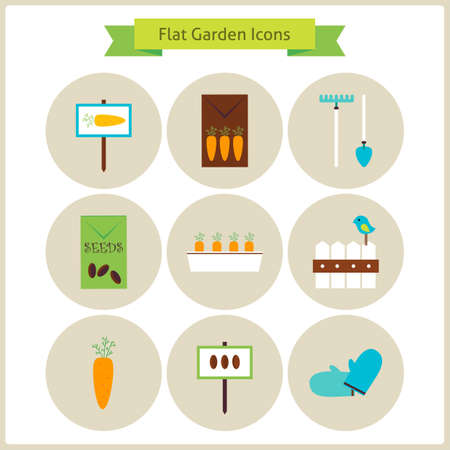 tillage: Flat Garden and Nature Icons Set. Flowers and Vegetables. Agriculture Vector Illustration. Collection of Nature Gardening Colorful Circle Icons. Spring Season Concept.
