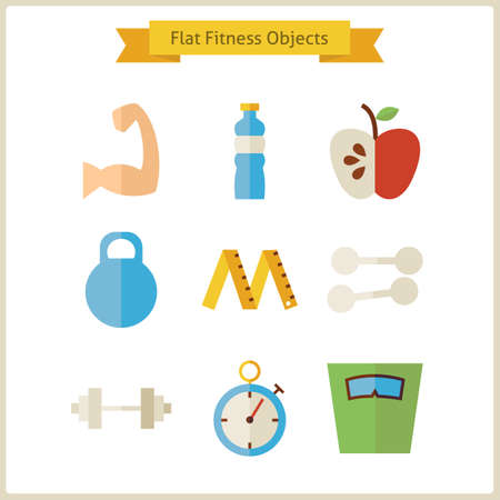 object: Flat Fitness and Dieting Objects Set.