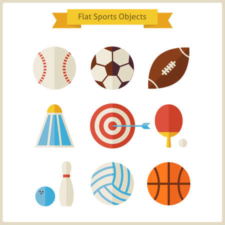 team sport: Flat Sports Objects Set.