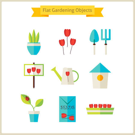 Flat Spring and Gardening Objects Set.