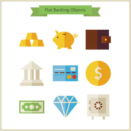 object: Flat Money and Banking Objects Set. Vector Illustration. Collection of Earning and Financial Objects Isolated over white. Money and Finance. Bank and Banking. Business Concept