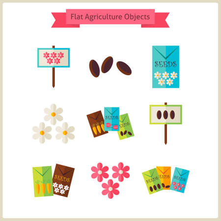 floriculture: Flat Flower Agriculture Objects Set.