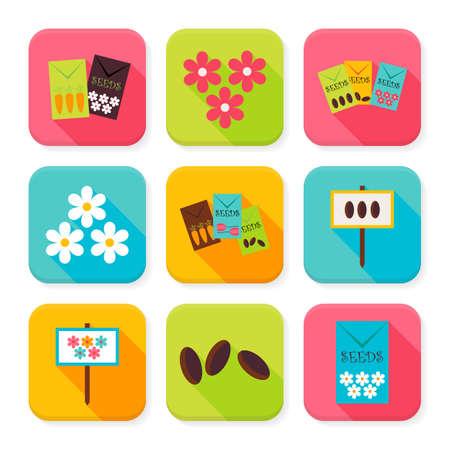 labranza: Agricultura espacios de Flores Squared App Icons Set. Piso estilo de ilustraci�n vectorial. Jardiner�a y Naturaleza Set. Colecci�n de aplicaci�n Cuadrado Rectangular Iconos coloridos con Long Shadow