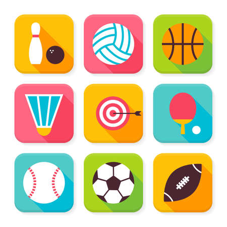 sports application: Flat Sport and Recreation Squared App Icons Set. Flat Style Vector Illustration. Team Games and Sports Activities Set. Collection of Square Rectangular Shape Application Colorful Icons with Long Shadow