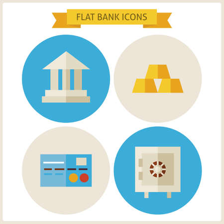 earning: Flat Bank Website Icons Set. Vector Illustration. Flat Circle Icons for web. Collection of Earning and Financial Colorful Circle Icons. Money and Finance. Bank and Banking. Business Concept