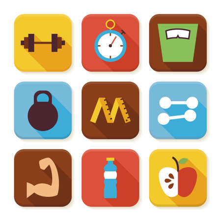 dieting: Flat Sport and Fitness Squared App Icons Set. Flat Style Vector Illustration. Dieting and Exercises Set. Collection of Square Rectangular Shape Application Colorful Icons with Long Shadow Illustration