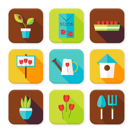 floriculture: Flat Gardening and Flowers Squared App Icons Set. Flat Style Vector Illustration. Nature and Cultivation Set. Collection of Square Rectangular Shape Application Colorful Icons with Long Shadow