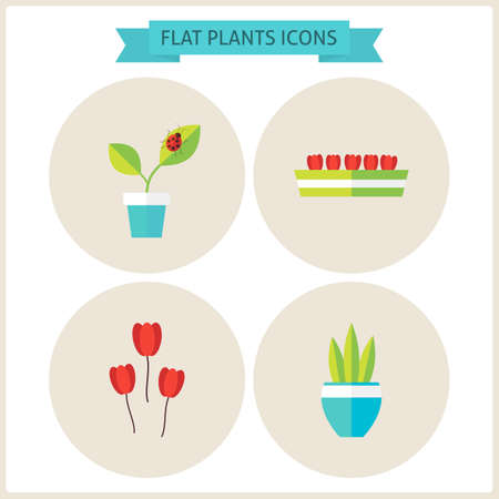 floriculture: Flat Plants Website Icons Set. Vector Illustration. Flat Circle Icons for web. Gardening and Flowers. Collection of Nature Agriculture Garden Colorful Circle Icons.