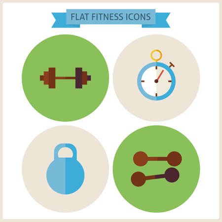 gym workout: Flat Sport Fitness Website Icons Set. Vector Illustration. Flat Circle Icons for web. Sports and Fitness. Collection of Healthy Lifestyle Objects. Sport Activities Gym Workout and Exercises