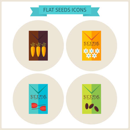 floriculture: Flat Agriculture Seeds Website Icons Set. Vector Illustration. Flat Circle Icons for web. Collection of Nature Garden Colorful Circle Icons. Spring Season and Gardening Concept.
