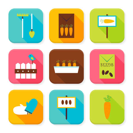 tillage: Flat Garden and Nature Squared App Icons Set. Flat Style Vector Illustration. Vegetables Agriculture and Cultivation Set. Collection of Square Rectangular Shape Application Colorful Icons with Long Shadow