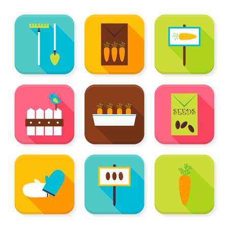 labranza: Piso Jard�n y Naturaleza Squared App Icons Set. Piso estilo de ilustraci�n vectorial. Verduras para la Agricultura y Set cultivo. Colecci�n de aplicaci�n Cuadrado Rectangular Iconos coloridos con Long Shadow Vectores