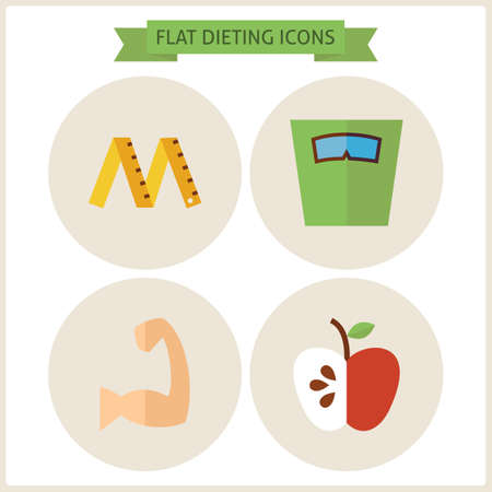 dieting: Flat Fitness Dieting Website Icons Set. Vector Illustration. Flat Circle Icons for web. Sport and Fitness. Collection of Healthy Lifestyle Objects. Sport Activities Gym Workout and Exercises Illustration