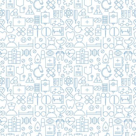얇은 의료 선 건강 관리 흰색 원활한 패턴. 벡터 의학 디자인과 트렌디 한 현대 선 스타일의 원활한 배경입니다. 얇은 개요 아트