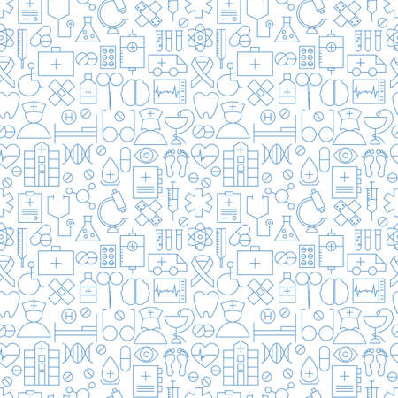 Thin Medical Line Health Care White Seamless Pattern Vector Classy Line Pattern Vector