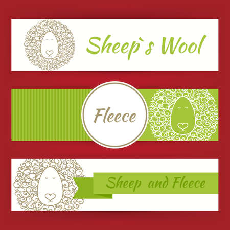 fleece: Sheep Fool and Fleece Concept Hand Drawn Style Vector Template Banners Set. Nature Eco Concept Template Banners Set. Design Vector Illustration of Brand Identity for Promotion. Colorful Pattern for Advertising Illustration