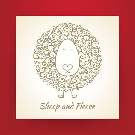 Hand Drawn Gold Sheep and Fleece over Piece of Paper. Vector Illustration. Doodle Sketch.