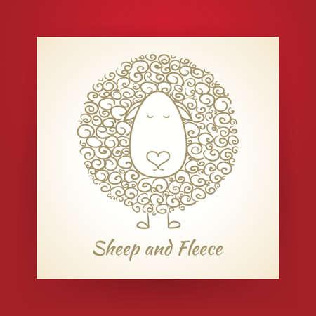 pecora: Hand Drawn pecore Oro e pile su pezzo di carta. Illustrazione vettoriale. Abbozzo di Doodle. Vettoriali