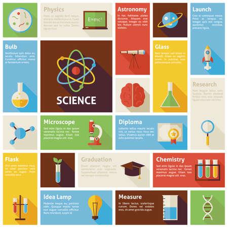 qu�mica: Iconos del dise�o Infograf�a plana Ciencia y Concepto de educaci�n. Ilustraci�n del vector. elementos de dise�o para aplicaciones m�viles y web con larga sombra. Investigaci�n y Laboratorio.