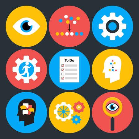 interface scheme: Search analyze and do flat circle icons. Flat stylized icons set