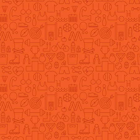 orange pattern: Thin Sport Line Activity Exercise Seamless Orange Pattern. Vector Fitness Design and Seamless Background in Trendy Modern Line Style. Thin Outline Art