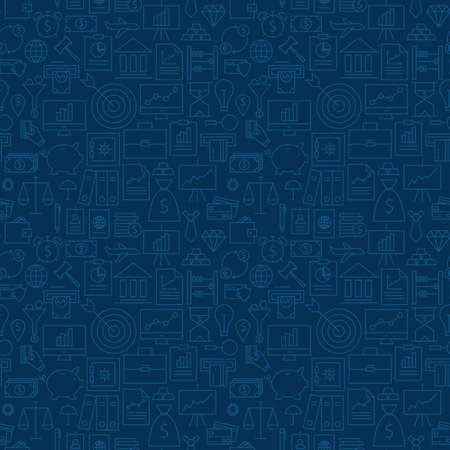 Thin Banking Line Business Finance Dark Blue Seamless Pattern. Vector Money Design and Seamless Background in Trendy Modern Line Style. Thin Outline Art  イラスト・ベクター素材